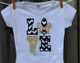Personalized LOVE New Orleans Saints Football Applique Shirt or Onesie