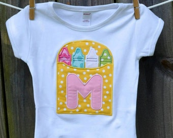 Personalized Crayons Initial Applique Shirt or Onesie Girl or Boy