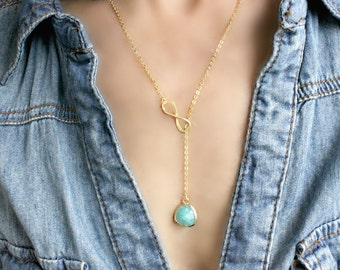 Mint Lariat Infinity Lariat Necklace Mint necklace Infinity Necklace Infinity Jewelry Bridesmaid Lariats turquoise ocean blue Gift for her