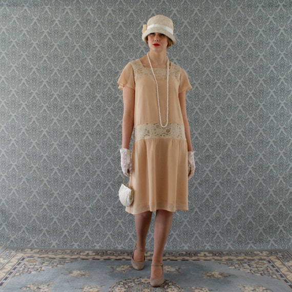 Dark beige high tea flapper dress with short ruffled sleeves Downton Abbey dress 1920s bridesmaid dress Roaring Twenties clothing $130.00 AT vintagedancer.com