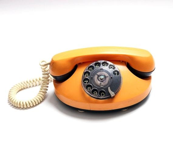 vintage rotary orange telephone 1970s retro telephone. Black Bedroom Furniture Sets. Home Design Ideas