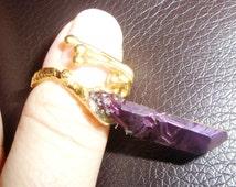 "One Point Quartz Statement Ring - Titanium Quartz ""Flame Aura"" Ring ~ Crystal Cocktail Ring ~ Midi Ring ~ Stacking Ring ~ Erect Ring"