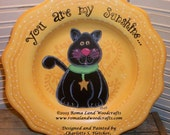Painting PATTERN for You are My Sunshine, a Black Cat painted on a yellow recycled Plate