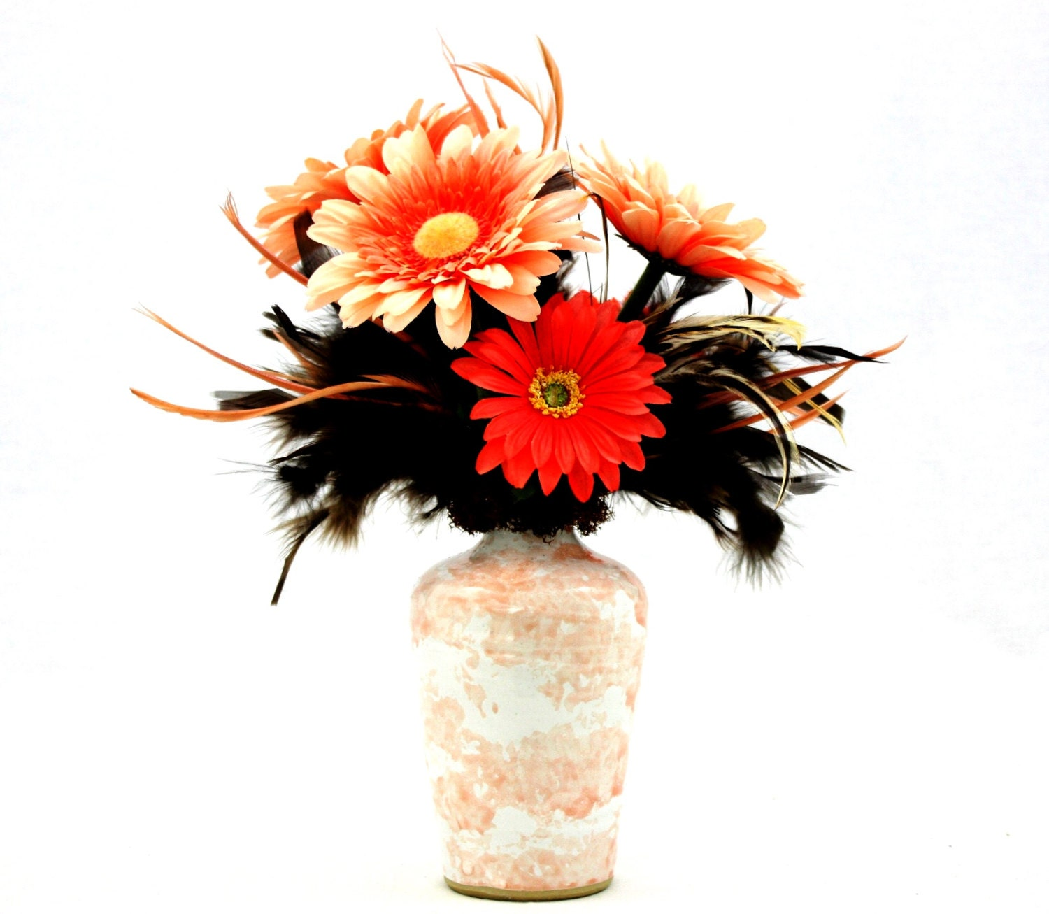 Feathers silk flower arrangement table centerpieces coffee