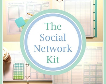 The SOCIAL NETWORK KIT, blog planner, social printable, blog printables, social media, social planner, instant download, pdf, Full Size