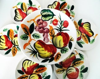Hand Painted Salad Bowl And 6 Salad Plates. Made In Japan By Inasco. 7 Piece Set