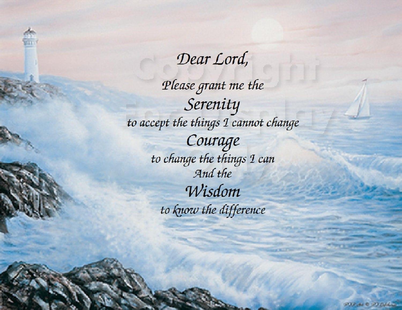 Serenity Prayer Inspirational Print On Lighthouse Background