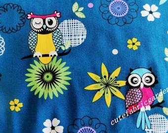 Cotton Fabric 1 Meter Animal Cartoon - Cartoon Fabric - The Owl - Blue Fabric  (W140cm)