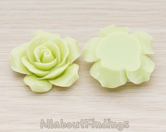 CBC157-07-YG // Yellow Green Colored 35mm Angelique Rose Flower Flat Back Cabochon, 2 Pc