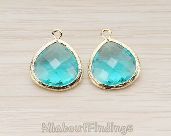 FST001-G-BZ // Glossy Gold Plated Framed Blue Zirconia Glass Stone Pendant, 2 Pc
