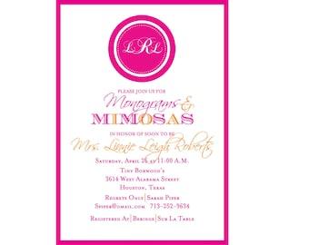 Monograms & Mimosas Bridal Shower Invitation