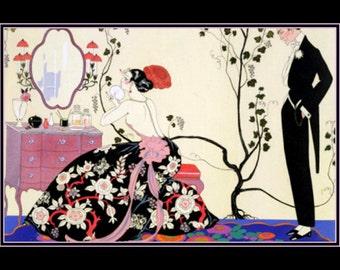 "8x10"" The Black Dress, Georges Barbier, 1920, Fashion Design"