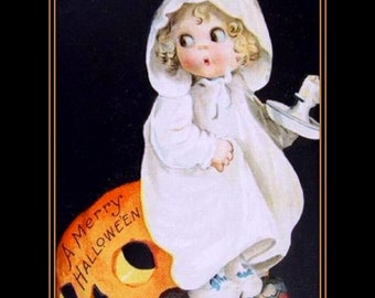 "Halloween, Ellen Clapsaddle, Girl, Pumpkin, Holiday, 11x14"" Cotton Canvas Print"