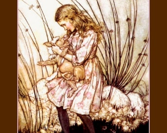 "8x10"" Silk Canvas Print, Vintage, Girl, Holding Pig, Arthur Rackham, Animals, Alice in Wonderland"