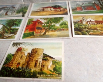 Set of 7 art prints, featuring California missions and other landmarks.  Published by Standard oil in 1969.