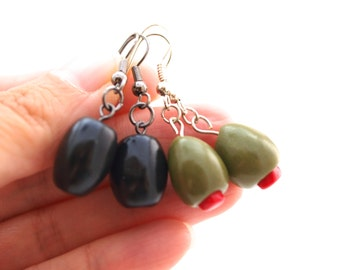 Martini Olive or Black Olive Earrings, Olives for Martini Lover, Black Olives Earrings, Fimo Miniature Food Jewelry, Stocking Stuffers