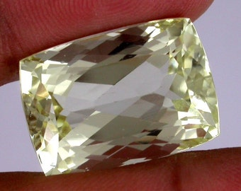 Huge 32.90 ct one of a kind Yellow Cushion Natural Kunzite
