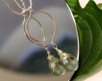 Sterling silver  Green Amethyst Drop necklace.