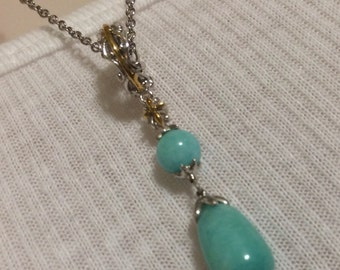 Amazonite Two tone sterling silver and Palladium necklace.