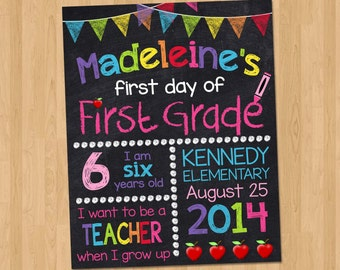 First Day of School Sign - First Day of School Chalkboard Printable Photo Prop - Personalized Back to School Sign Pink - Any Size ANY GRADE