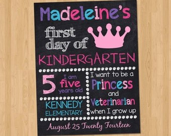 First Day of School Sign - First Day of Kindergarten Chalkboard Sign - First Day of School Printable Personalized Back to ANY GRADE Pink