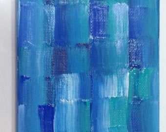 """Blue painting on canvas abstract 4""""x12"""""""
