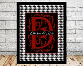 Alabama Houndstooth, Bama Monogram, Crimson Colors with Names, Football Colors Wall Art