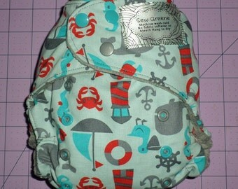 Nautical Theme Pocket Cloth Diaper.  Whale, Light House, Crab, Boats,and Seagull - Ready To Ship