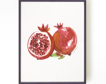Pomegranate painting, Fruit kitchen print, Watercolor print, Botanical print, Fruit art, Apartment decor, Red fruit, Buy 2 Get 1 FREE