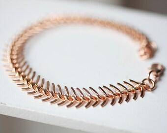 SALE - Silver FISHBONE Chain Bracelet -Silver fishbone Chain Link Bracelet - Chain bracelet