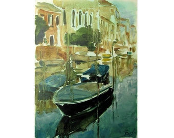 Landscape with boats - Venetian landscape - original oil painting on paper