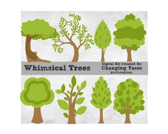 8 Digital Scrapbooking Whimsical Trees, Tree Clipart, Nature Clip Art, Woodland Trees, Woods, Forest, Spring Summer Fall, Commercial Use