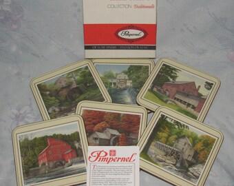Vintage Square Pimpernel Coasters - Set of 6 Six - Water Mills - Old England/Rural America - Original Box
