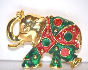 Vintage Holiday Clothed Good Luck Elephant
