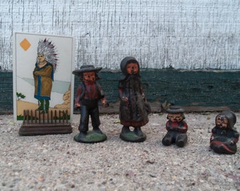 Vintage Cast Iron Amish Pioneer Family Toy Figurines