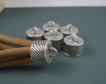 Large End Cap, 14MM Silver Finish Ornate Caps for Leather or Cord,  Six pieces (CAP14-001)