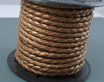Leather Braided Cord, 3MM Bronze Metallic Bolo Leather, Excellent Quality All Leather, One Yard