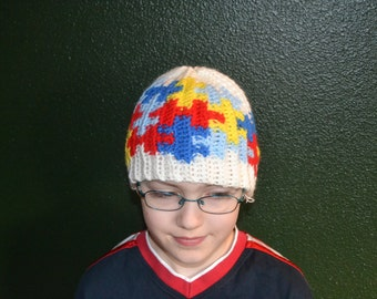 Autism beanie big puzzle (child and adult sizes), puzzle hat, autism hat