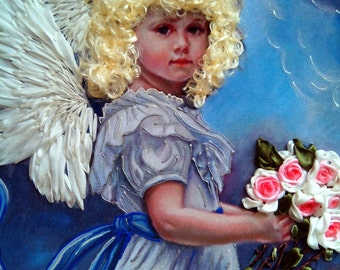 silk ribbon embroidery picture , Angel with bouquet of roses