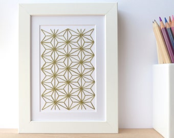 Hand embroidered card green geometric pattern-craft card-writing-decoration-gift-birthday-textile design-contemporary embroidery-art card