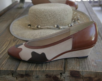 Designer shoe wedge heel cow print painted pony Norman Kaplan size 7M NOS