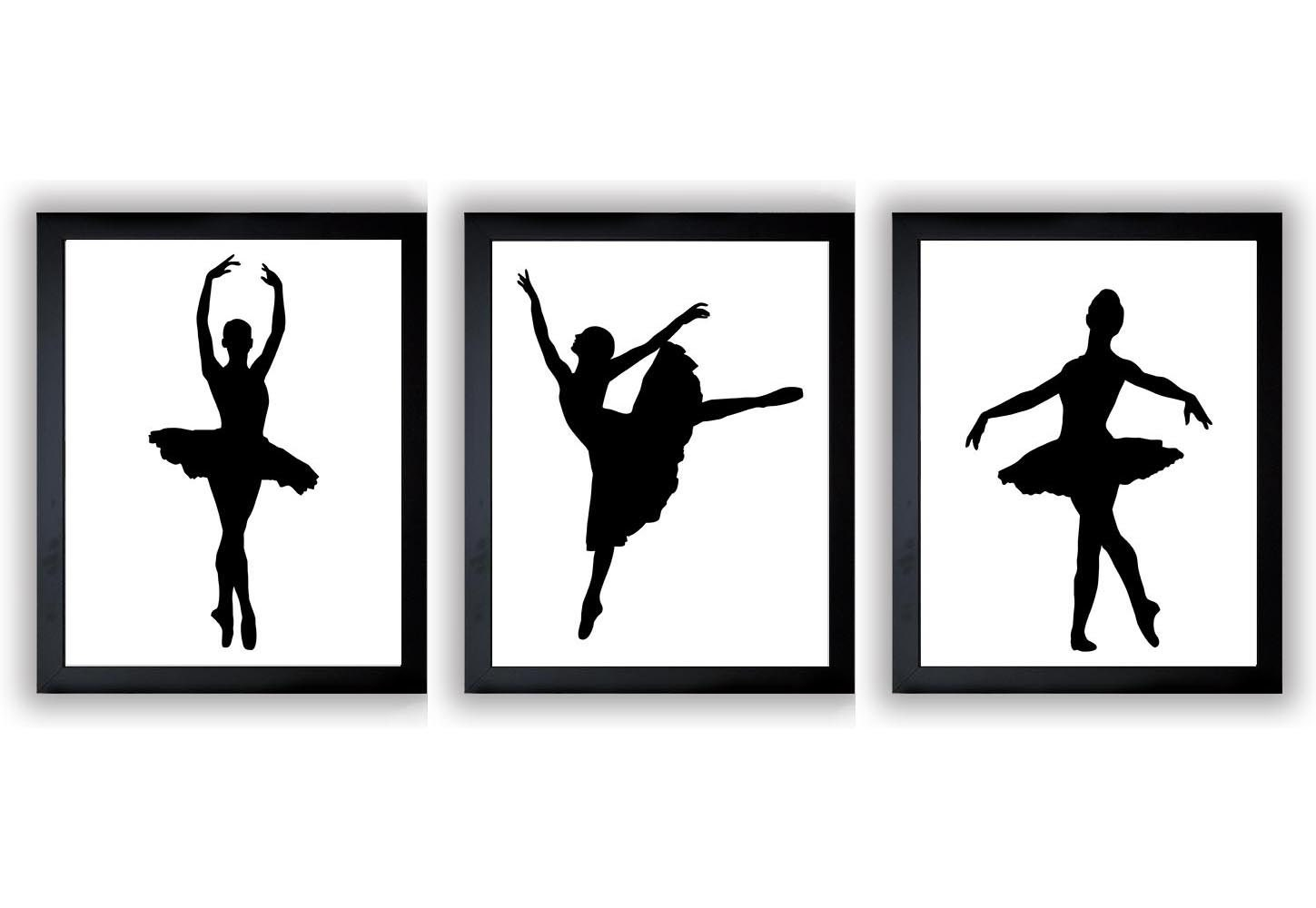 Ballerina Prints Ballet Dancers Child Baby Art Prints Set of 3 Silhouette Girls Art Nursery Art Kids