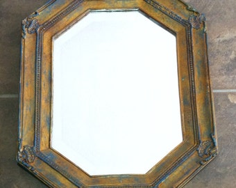 Upcycled Blue and Gold Mirror