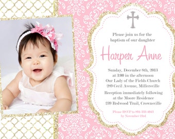 Baptism Christening Invitation Announcement - Printable or Printed