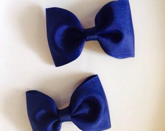 Navy blue ribbon bow , hair bow , hair clip , ribbon bow clip