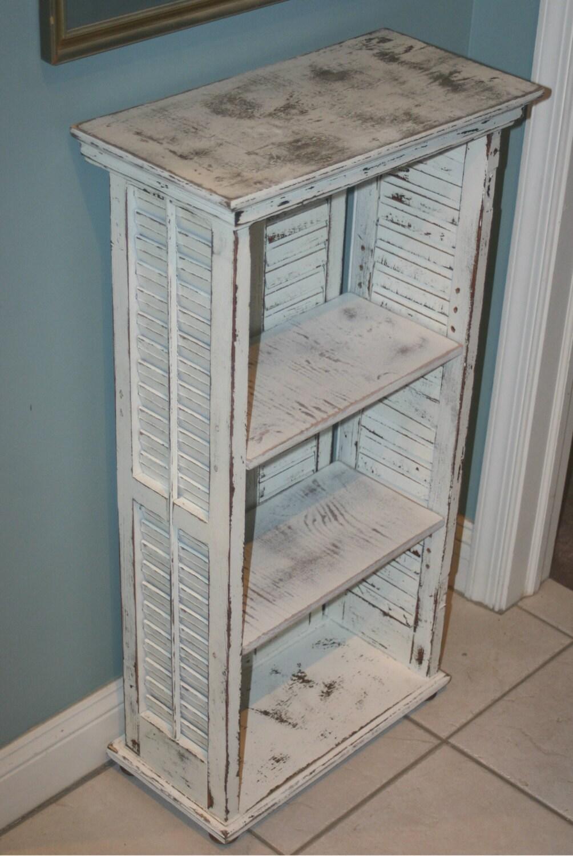 Repurposed Shutter Bookcase Shelves Distressed Shelf Cottage