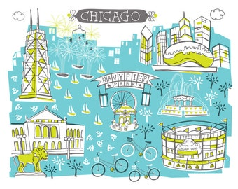 Wall Art-Chicago-Art Print-3 Color-City Illustrations-10x8-Turquoise-Lime-Grey