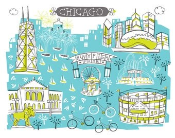 Wall Art-Chicago-Art Print-3 Color-City Illustrations-10x8-You Choose Color-Custom City Print