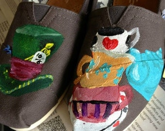 Alice in Wonderland Hand painted Toms, EXAMPLE