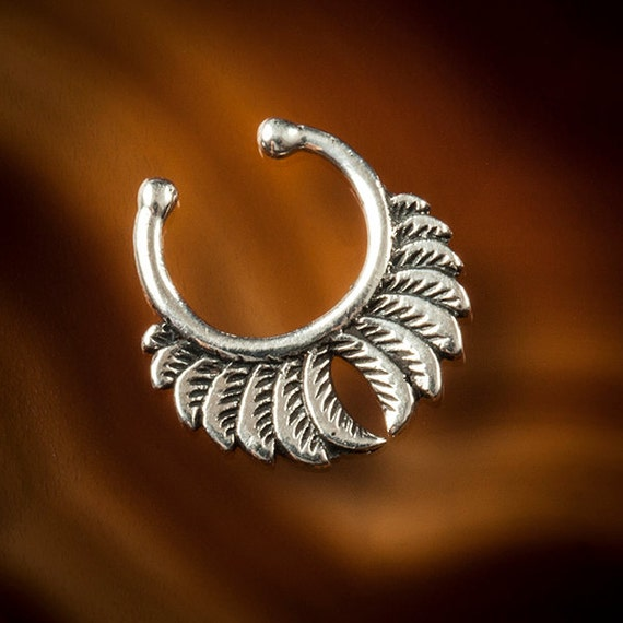 Silver Fake septum for non pierced nose.wings design (Code SS24)